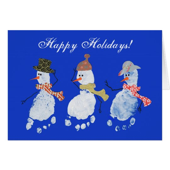 3 Baby footprints Snowmen Happy Holidays! Card