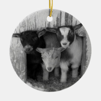 3 BABY WINTER GOATS CHRISTMAS ORNAMENT