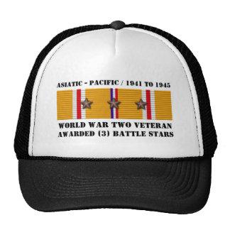 3 BATTLE STARS WWII Asiatic Pacific Veteran Cap
