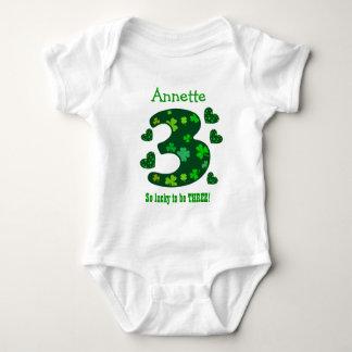 3 Birthday Girl Shamrock Number Custom Name V15 Tee Shirt