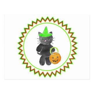 3 black cat witch zig zag.jpg postcard