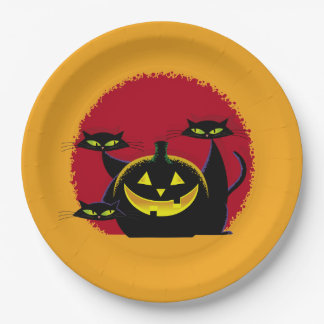 3 Black Cats Halloween Party Paper Plates