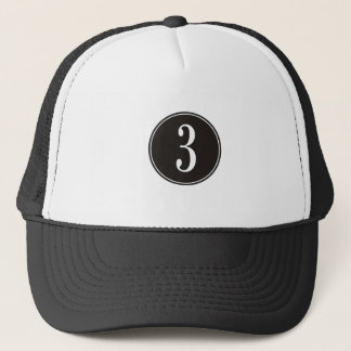 #3 Black Circle Trucker Hat