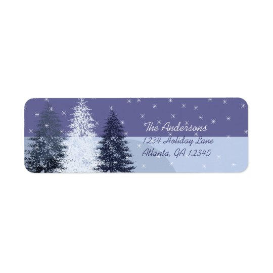 3 Blue Christmas Trees Return Address