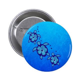 3 Blue Honu Turtles 6 Cm Round Badge