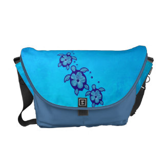 3 Blue Honu Turtles Courier Bag
