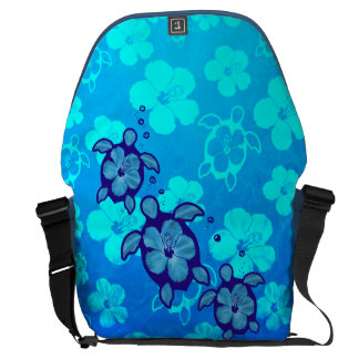 3 Blue Honu Turtles Messenger Bag