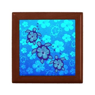 3 Blue Honu Turtles Small Square Gift Box