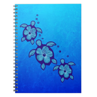 3 Blue Honu Turtles Spiral Notebook