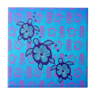 3 Blue Honu Turtles Tile