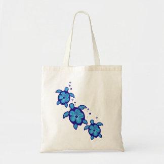 3 Blue Honu Turtles Tote Bags