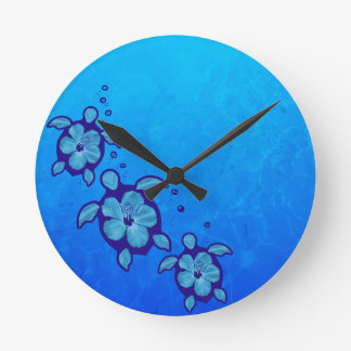 3 Blue Honu Turtles Wall Clock
