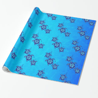 3 Blue Honu Turtles Wrapping Paper