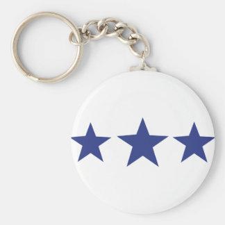 3 blue stars basic round button key ring