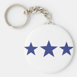 3 blue stars key ring