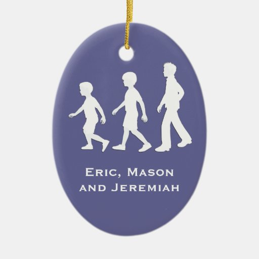 3 Brothers: Paper Cut-Out Style Boys Christmas Ornament