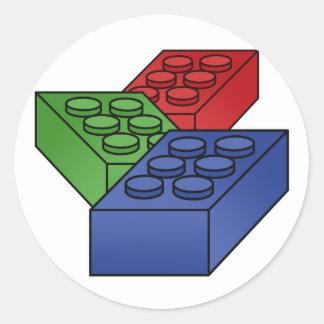 3 Building Blocks Round Sticker