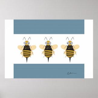 3 Bumblebees Poster