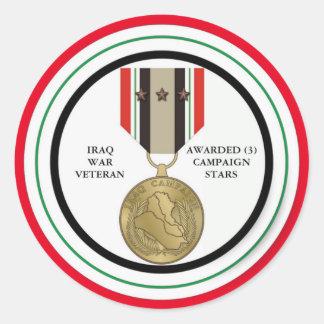 3 CAMPAIGN STARS IRAQ WAR VETERAN ROUND STICKER