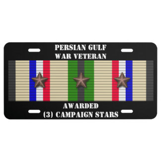 3 CAMPAIGN STARS PERSIAN GULF WAR VETERAN LICENSE PLATE