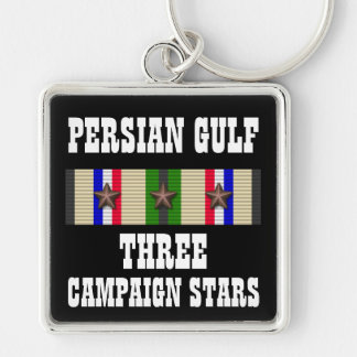 3 CAMPAIGN STARS / PERSIAN GULF WAR VETERAN Silver-Colored SQUARE KEY RING