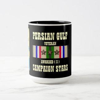 3 CAMPAIGN STARS PERSIAN GULF WAR VETERAN Two-Tone COFFEE MUG