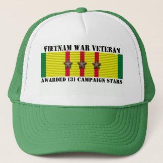 3 CAMPAIGN STARS VIETNAM WAR VETERAN TRUCKER HAT