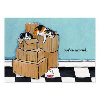 3 Cats Boxes We ve Moved Announcement Business Card Template