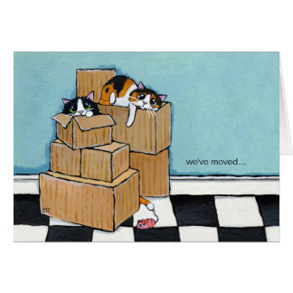 3 Cats & Boxes | We've Moved Note Card