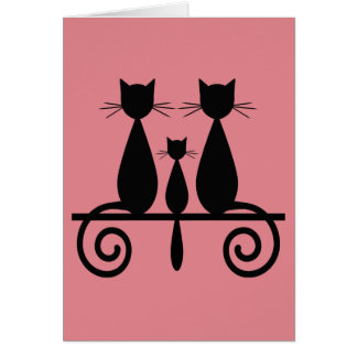 3 Cats On A Fence Greeting Card