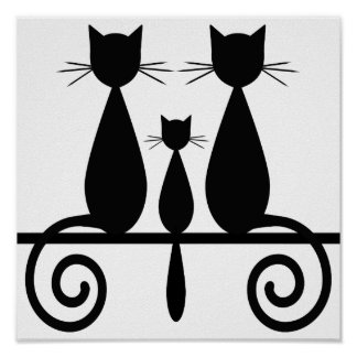 3 Cats On A Fence Poster