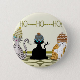 3 Cats With Hats Christmas 6 Cm Round Badge