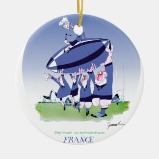 3 cheers french rugby, tony fernandes round ceramic decoration