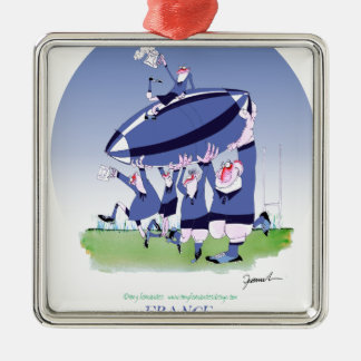 3 cheers french rugby, tony fernandes Silver-Colored square decoration