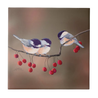 3 CHICKADEES & RED BERRIES by SHARON SHARPE Small Square Tile