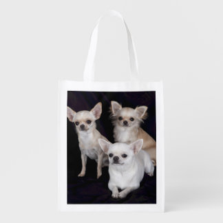 3 chihuahuas reusable grocery bag