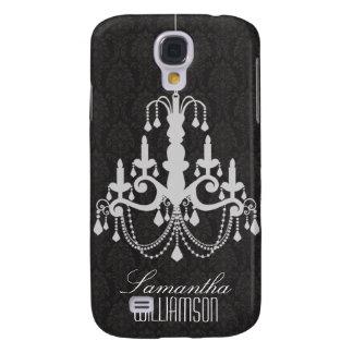 3 Classy Chandelier Damask Black  Galaxy S4 Case