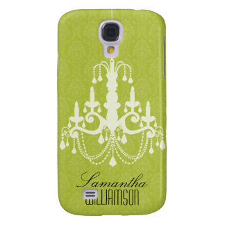 3 Classy Chandelier Damask Lime  Galaxy S4 Case