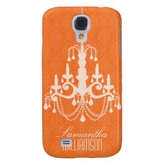 3 Classy Chandelier Damask Orange  Galaxy S4 Case