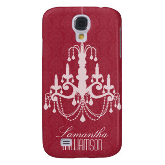 3 Classy Chandelier Damask Red  Galaxy S4 Case