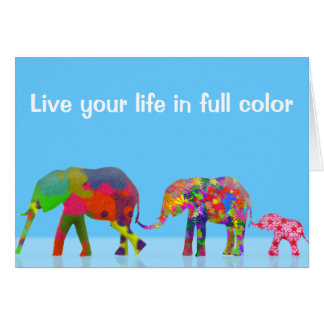 3 Colorful Elephants Walking - Pop Art Card