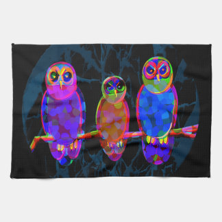 3 Colorful Owls at Night in Front of the Moon Tea Towel