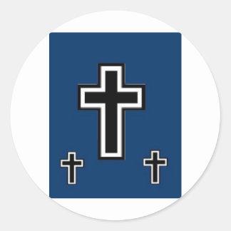 3 Crosses on Blue Classic Round Sticker