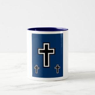 3 Crosses on Blue Mug