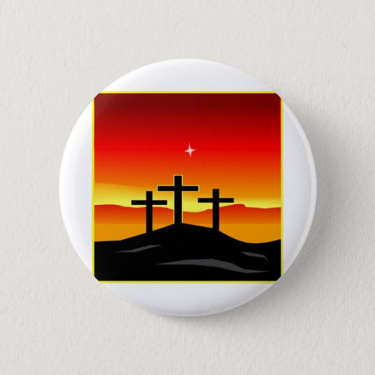 3 Crosses Sunset 6 Cm Round Badge