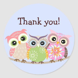 3 Cute and Colourful Owls Thank You Stickers