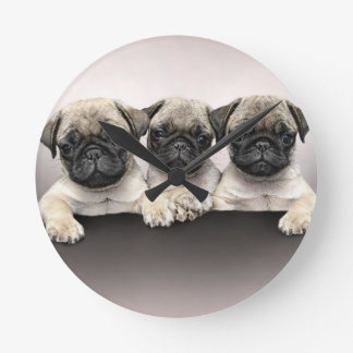 3 Cute Pug Pippies Round Clock