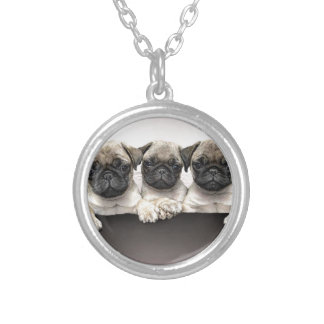 3 Cute Pug Pippies Silver Plated Necklace