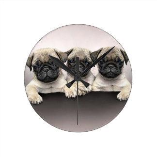 3 Cute Pug Pippies Wallclocks