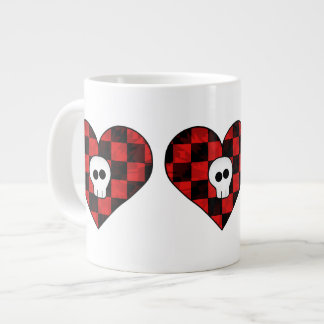 3 cute punk goth skull in red checkered hearts extra large mug